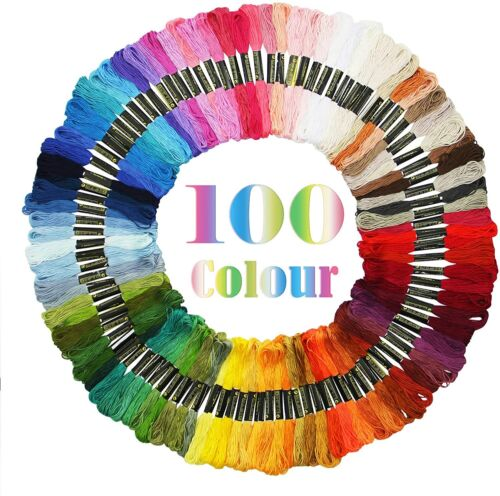 100 Colors Cross Stitch Thread Embroidery Floss Sewing Skein
