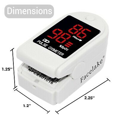 Facelake Fl400 Pulse Oximeter With Carrying Case Batteries White