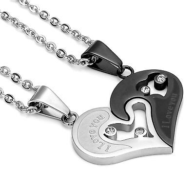 Heart Necklace for Couples His and Her Pendants Love Puzzle Matching Xmas Gift ()