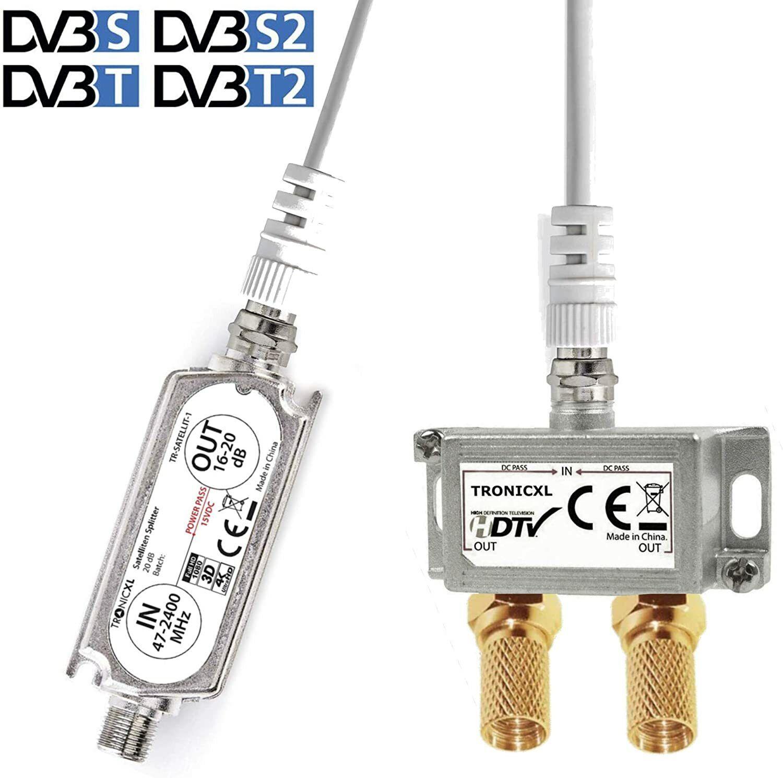 20dB Sat Verstärker + 2-Fach Antennenverteiler Splitter 3D 4K HDTV DVB-S2 Weiche
