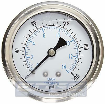Liquid Filled Pressure Gauge 0-200 Psi 2.5 Face 14 Back Mount Wog
