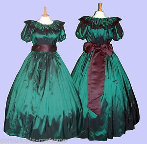 Ladies-Victorian-or-American-Civil-War-3pc-costume-fancy-dress-size-6-20-green