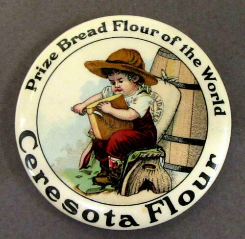 c. 1915 CERESOTA FLOUR white border advertising celluloid pocket mirror  ^