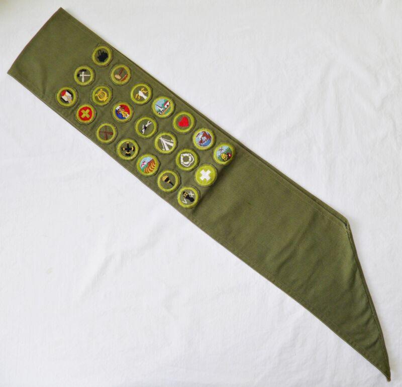 BOY SCOUT BSA Vintage SASH w 21 DIFFERENT Merit BADGES Sewn On PATCHES