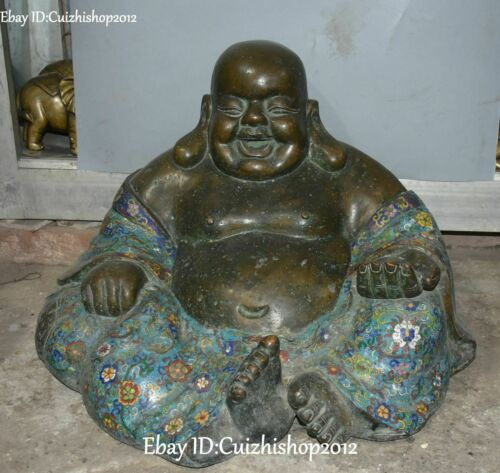 "20"" Old China Purple Bronze Cloisonne Enamel Temple Happy Maitreya Buddha statue"
