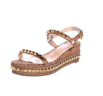 CHRISTIAN LOUBOUTIN Cataclou 60 Espadrille Wedge Gold Stud Snake Embossed Sandal