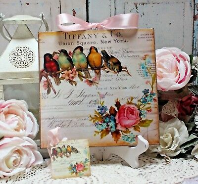 "~ Shabby Chic Old-fashioned Country ~ Cottage style Wall Decor. Sign ""Birds & Roses"" ~"