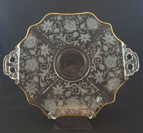 """Cambridge Wildflower Etch Clear 2-handled 11.5"""" Plate Platter Gold Decorated"""
