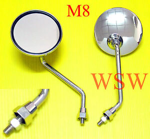 8mm Chrome Motorcycle Round Rear View Side Mirrors Kawasaki Honda Suzuki Scooter
