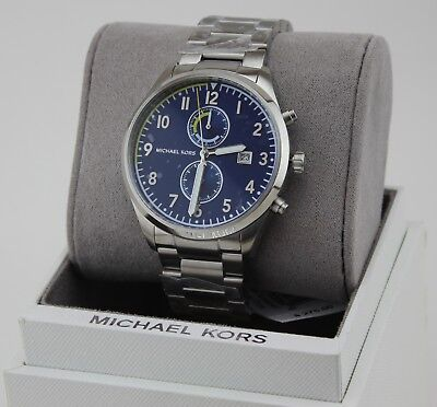 NEW AUTHENTIC MICHAEL KORS SAUNDER SILVER BLUE CHRONOGRAPH MEN'S MK8574 WATCH