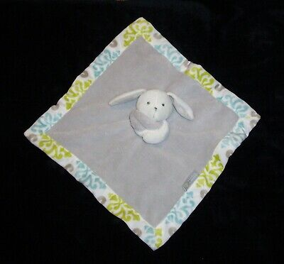 Blankets & and Beyond Gray Bunny Baby Blanket Yellow Green Aqua Damask Trim