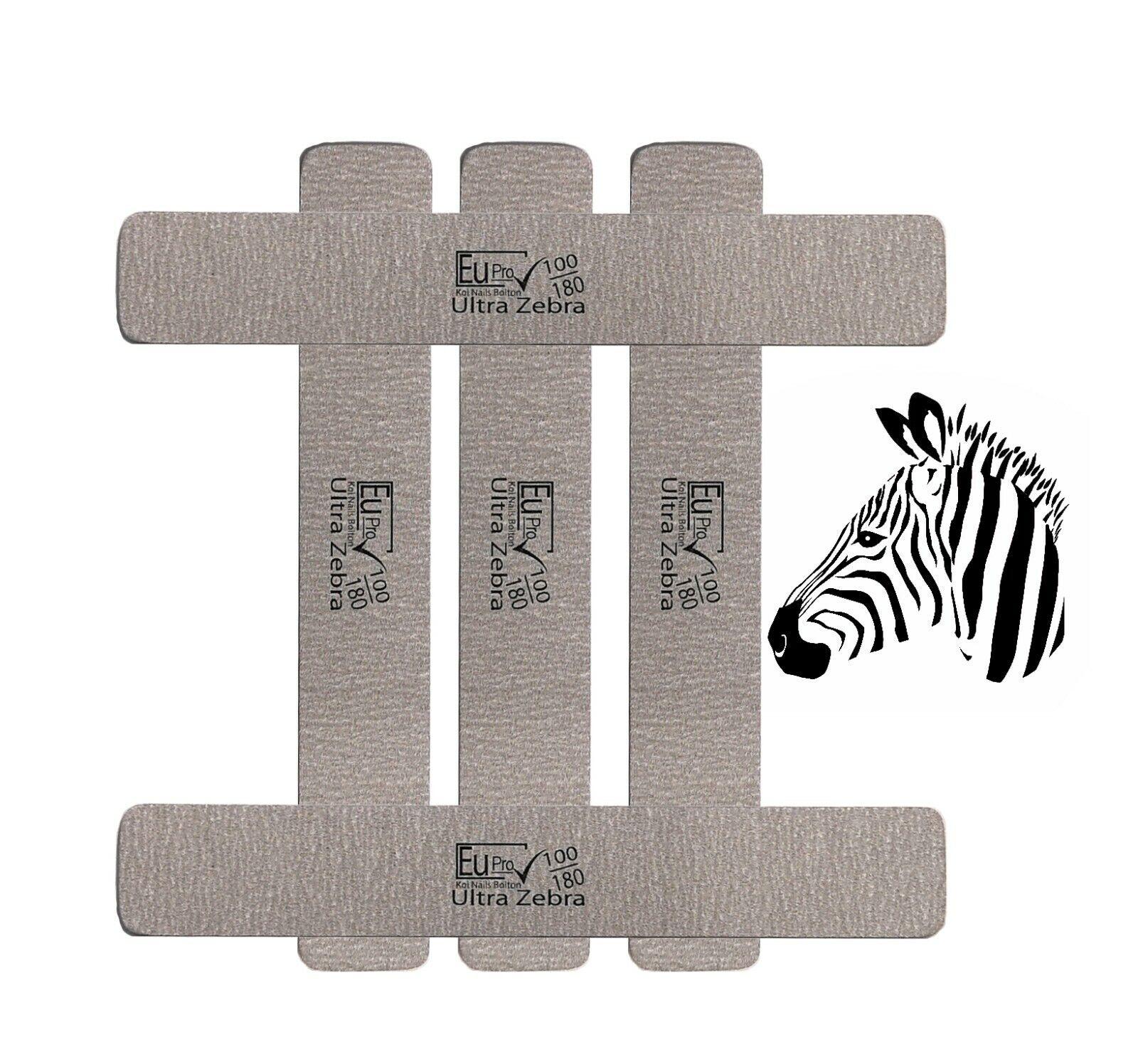 5x (German) Supreme Quality Ultra Zebra Salon Emery Nail File 100 / 180 Files