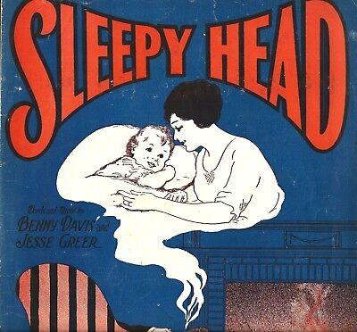 (SLEEPY HEAD 1926 Vintage Jazz Sheet Music Ukulele Piano Vocal ART DECO )