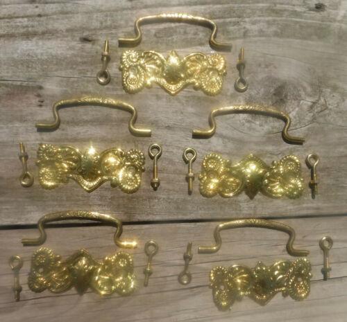 """Lot of 5 vintage  repro  Furniture Dresser Drawer Pulls Stamped Brass  3"""" Center"""