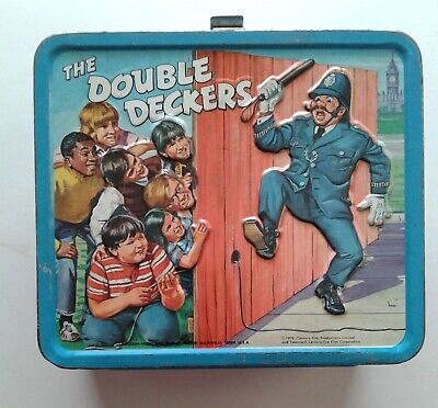 Vintage The Double Deckers Metal Lunch Pail Lunchbox with Thermos