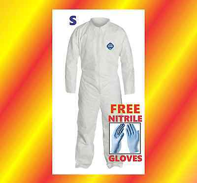 Small Protective Coverall Suit 4 Prepper Chemical Free Nitrile Gloves Tyvek Sm