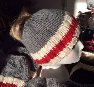 Hand Knit 'Work Sock/Monkey' Messy Bun Hat