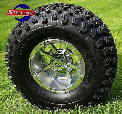 "GOLF CART 10"" GUNMETAL STORM TROOPER ALUMINUM WHEELS + 22"" AT TIRES (SET OF 4)"