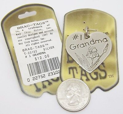 Grandma Tag (#1 Grandma Brag Tag Heart shapped Dog Tag pendant  ... Retail $12.00 ea. #143 )