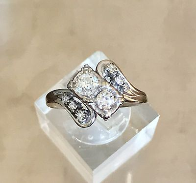 Antique 14k White Gold Genuine Diamond Ring - Size 7