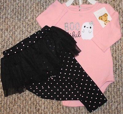 New! Girls Halloween Outfit (Shirt, Leggings; Pink/Black; Boo-tiful) - Sz 6-9 mo - Black Halloween Outfit