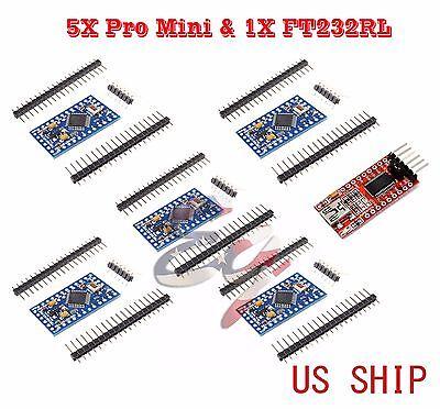 5pcs Atmega328p Arduino Pro Mini Module 5v 16mhz 1pcs Ft232rl Ftdi Usb Ttl Usa