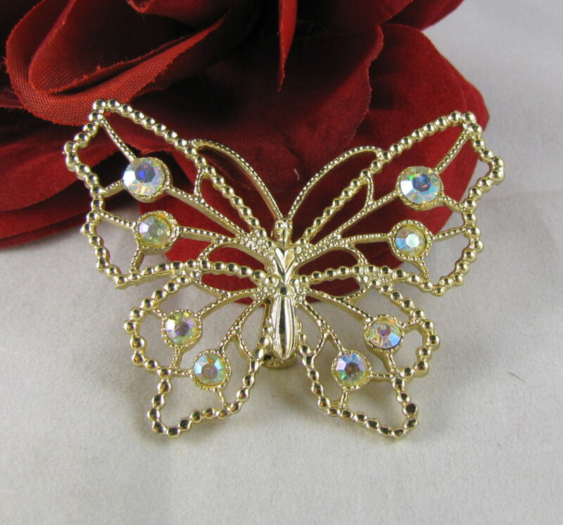 Vintage AB Rhinestones Gold tone Butterfly Pin Brooch CAT RESCUE