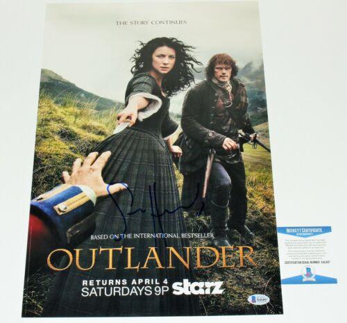 SAM HEUGHAN SIGNED OUTLANDER 12x18 TV SHOW PHOTO BECKETT COA CATRIONA BALFE