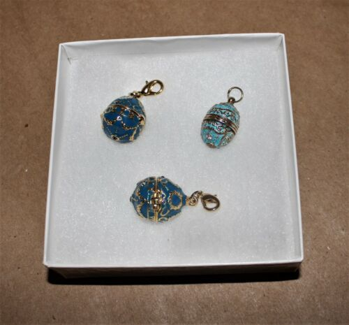 Lot of 3 - Blue & Lt. Blue Russian Style Easter Egg Charms- 2 Charms 1- Pendant