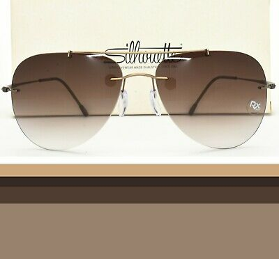 Silhouette Rimless Aviator Sunglasses Rx-able Prescription Ready 8667 40 (Prescription Aviator Sunglasses)