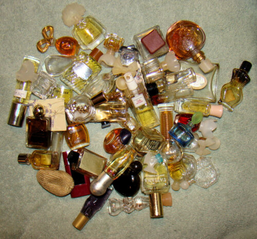 Lot of 40+ Miniature Glass Perfume Bottles Vintage & Empty and Partially Full