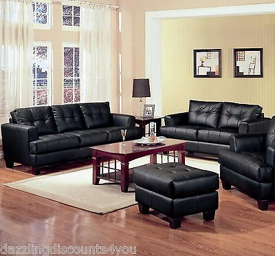 2 Piece Present-day Black Bonded Leather Sofa and Love Seat Living Room Set