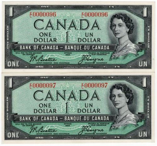 Bank of Canada 1954 $1 Low Serial Number Consecutive Pair Under 100 GEM UNC RARE