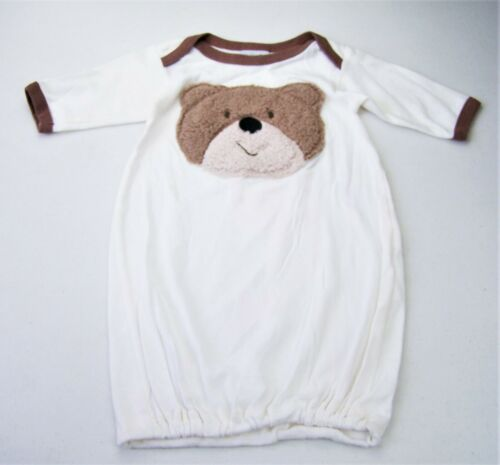 Boys HAUTE BABY ivory brown fuzzy bear boutique cotton gown 0 3 months sleeper