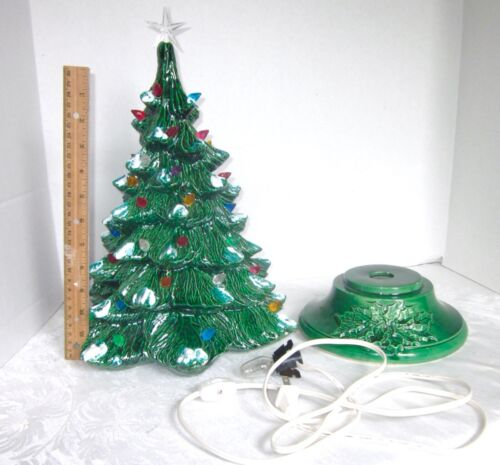 """Vintage Ceramic Christmas Tree Lighted with Base and Star 1970s 17"""" tall w base"""