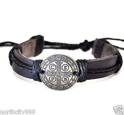 Black Men's Leather Bracelet Religious Catholic Saint St Benedict Medal protect