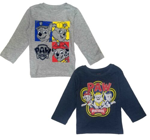 Paw Patrol Boys T Shirt Birthday Gray Long Sleeve 2-Pack Size  2T 3T 4T New Tags