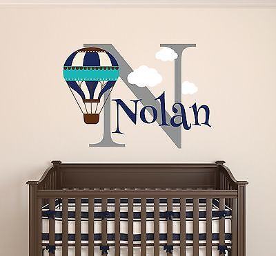 Personalized Hot Air Balloon Name Wall Decal Nursery Clouds Wall Vinyl Sticker
