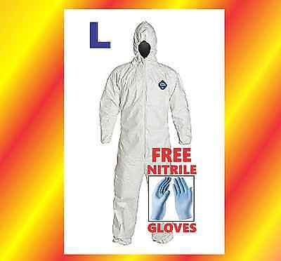 Large Hood Tyvek Protective Coverall Suit Clean Up Hazmat Free Nitrile Glove Lg