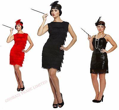 Ladies Flapper Dress 1920s Red and Black Tassels Charleston Gatsby Party Dress