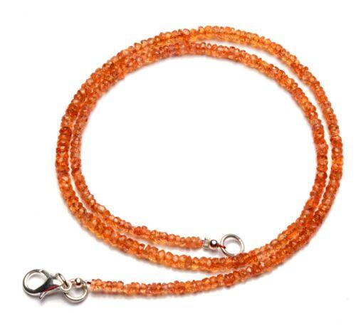 "Natural Gem Songea Orange Sapphire 3mm Size Rondelle Beads Necklace 16.5"" 39Cts"