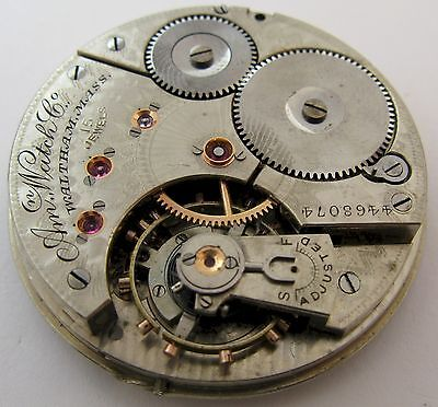 Waltham 16s Pocket Watch Movement 15 j. fit an Hunting Case  ...