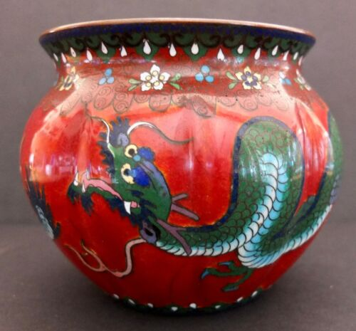 """Japanese Wireless Cloisonné Enamel Bowl With Dragon And Flowers 4"""" X 4.5"""""""