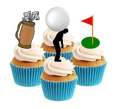 Kuchendekoration Golf/Golfer Mischung Essbar Aufstehend Backoblate Neuheit x12