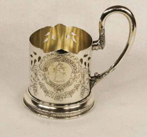 Antique Russian 84 Silver 13 Artel Moscow Engraved Glass Holder