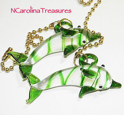 - DOLPHIN PORPOISE GREEN OCEAN SEA MURANO GLASS CEILING FAN SWITCH PULL PAIR  D802