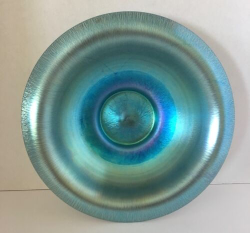 Steuben Blue Aurene Center Art Glass Dish Bowl