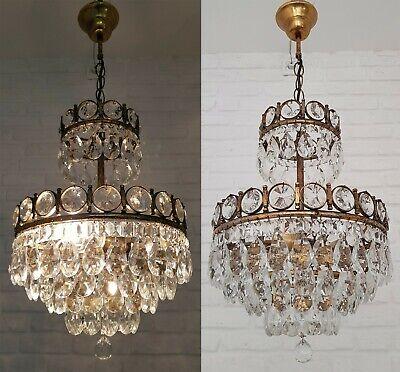 Vintage 1950/'s Polished Glass Chandelier Crystal 14 Facets Holes In Both Ends