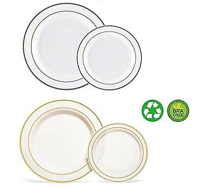Dinner/ Wedding Disposable Plastic Plates silver / gold rim 50 Pcs](Gold Disposable Plates)