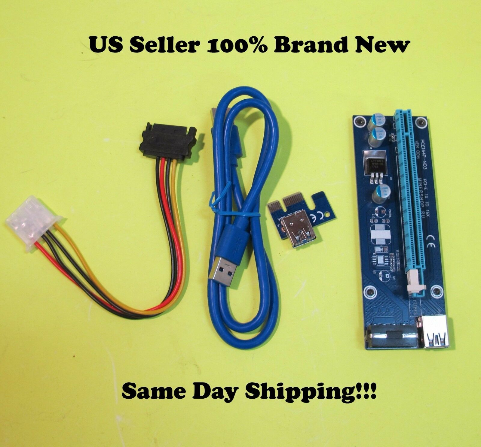 X6 Extender Riser Card Adapter Sata Power Cable Usb3.0 6p...